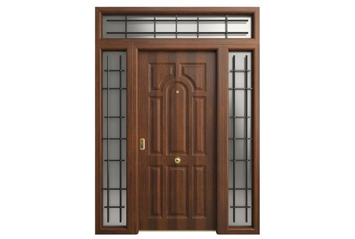Affordable Great Puertas De Aluminio Nogal Puerta Entrada Vivienda Blindada  En Aluminio With Puertas Cortafuegos Leroy Merlin With Puertas De Entrada  Leroy ...